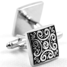 MFYS Jewelry ファッション アクセサリー クラシック 広場 四角 正方形 幾何学模様 アラベスク 紳士 メンズ カフス【専用収納ケース付き】