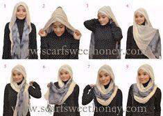 two scarves hijab tutorial – scarf sweethoney – Hijab Fashion 2020 Islamic Fashion, Muslim Fashion, Modest Fashion, Scarf Tutorial, Hijab Tutorial, Hijab Collection, Turban Style, Hair Style, Leopard Fashion