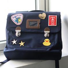 Custom patch work of navy school bag for kids TYPE B #02