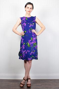 Vintage 70s Dress Mini Dress Ruffle Bib Sundress Purple Floral Print Hippie Dress Babydoll Dress 1970s Dress Boho Festival Dress M Medium L by ShopTwitchVintage #1970s #70s #etsy #vintage #hippie #dress #floral #sundress