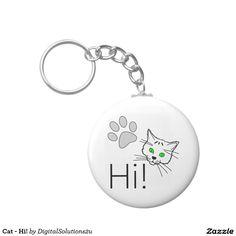 Cat - Hi! Basic Round Button Keychain