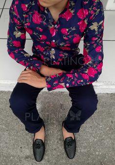 Camisa cuello mao con diseño flores y mocasín chevron en piel genuina, de la marca moon & rain para Tiendas Platino