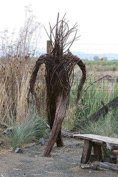 Cornerstone, Sonoma, The Hermit's Garden by Kate and Ben Frey cool scarecrow Land Art, Outdoor Art, Outdoor Gardens, Garden Art, Garden Design, Sculpture Art, Garden Sculpture, Twig Art, Environmental Art