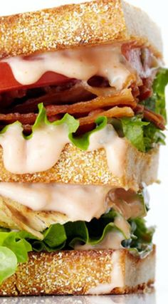 Grilled Chicken Club Sandwich ~ A sky-high sandwich, toasted rye bread is slathered in homemade Russian dressing and layered with juicy grilled chicken, creamy avocado, ripe tomatoes and crispy bacon.