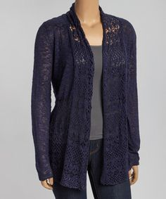 Another great find on #zulily! Navy Crochet Open Cardigan - Plus by Belldini #zulilyfinds