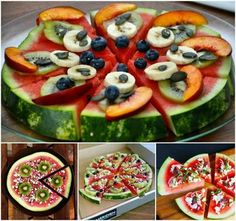 Who says Pizza can't be healthy? These amazing Watermelon and Fruit Pizzas are both delicious and healthy. Healthy Foods To Eat, Healthy Snacks, Healthy Recipes, Healthy Pizza, Healthy Eats, Cute Food, Good Food, Yummy Food, Watermelon Fruit Pizza