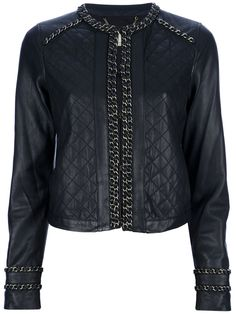 Michael Kors   Chain Detailed Leather Jacket