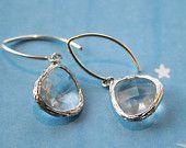 silver earrings, wedding bridal earrings,  fancy silver framed earrings, crystal teardrop sterling silver earrings, rose  pink glass. $26.00, via Etsy.