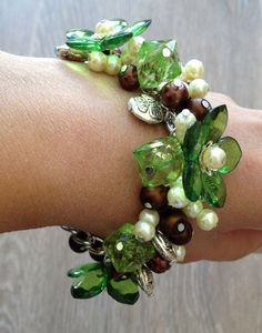 Brown ivory silver beaded bracelet/ Chain от ElenaVorobey на Etsy