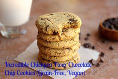 Incredible Chickpea Flour Chocolate Chip Cookies (Grain-Free, Vegan) [Serving size: ⅛ of recipe. Calories: 166 Fat: 7.9 g Saturated fat: 5.6 g Unsaturated fat: 2.3 g Trans fat: 0 g Carbohydrates: 20.5 g Sugar: 9.4 g Sodium: 148 mg Fiber: 3.7 g Protein: 4.3 g]