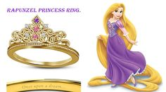 14K Solid Gold Plated Multi-Color Cz Disney Princess Rapunzel Crown Wedding Ring #EngagementWeddingRing