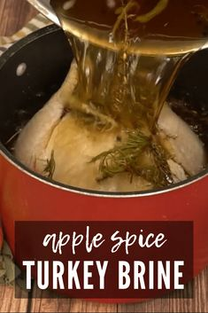 Using my apple spice turkey brine recipe will add moisture, tenderness, and those amazing fall flavors of apples, fresh herbs, and spices to your turkey! Smoked Turkey Brine, Easy Turkey Brine, Slow Roasted Turkey, Baked Turkey, Juicy Turkey Recipe, Best Turkey Recipe, Easy Turkey Recipes, Thanksgiving Recipes, Holiday Recipes