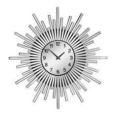 Inferno Wall Clock, Mirrored, MDF/Acrylic/Glass