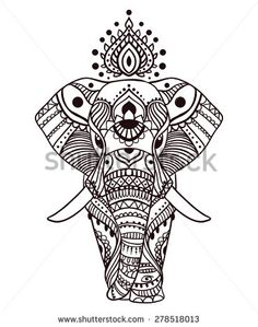 Greeting Beautiful card with Elephant. Frame of peacock made in vector. Perfect cards, or for any other kind of design, birthday and other holiday.Seamless hand drawn map with Elephant. - stock vector