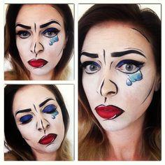 Lichtenstein inspired pop art makeup look.