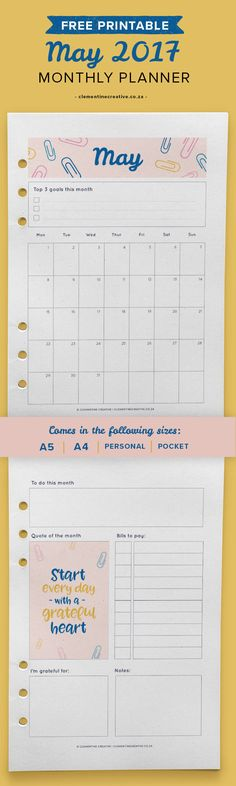 Free Printable May 2017 Calendar from Clementine Creative {newsletter subscription required}
