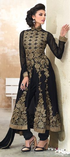 416666: Black is for every season, anarkali with floral motifs