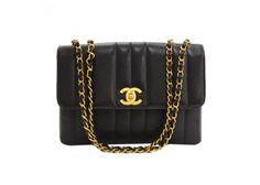 "Chanel 10"" Black Vertical Quilted Caviar Leather Shoulder Flap Bag"