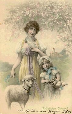 Woman with Child with Eggs and Lamb