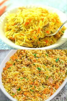 This easy Chicken Rice Casserole makes an elegant and tasty dinner. Made with onions, carrots, basmati rice, and chicken, you won't believe how tasty it is! Easy Chicken Rice Casserole, Easy Chicken And Rice, Chicken Pasta Recipes, Casserole Recipes, Sushi Rice Recipes, Rice Recipes For Dinner, Evening Meals, Easy Meals, Recipes