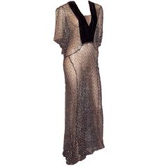 1stdibs - 1930's Black & Silver Metallic Lace Gown with Velvet Details explore items from 1,700  global dealers at 1stdibs.com