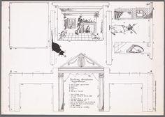 Bouwplaat voor een papierentheater, met decors, kat en heks