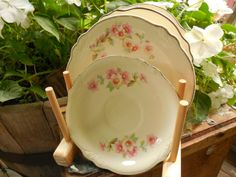 Homer Laughlin Virginia Rose Salad Cake Plates and saucer 1940.