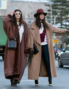 oversized jackets.......just showing how far it can go!......this is very european edgy look.... not saying it should be this exaggerated but the shapes, colours accessorised overall look has a good winter feel.