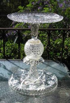 Glass bird feeder by mrsdutchy (shabbygirlmosaics), via Flickr