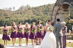 Purple bridesmaid dresses of convertible jersey dresses //  HeyDay Photography // http://www.theknot.com/contests/my-real-wedding/photo/173392/adrienne-and-luke