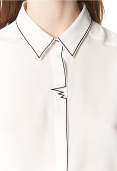 White Shirt with embroidered outline stitching; sewing inspiration // Claudie Pierlot by nettie Looks Street Style, Looks Style, Looks Cool, Style Me, Fashion Details, Look Fashion, Womens Fashion, Petite Fashion, Latest Fashion