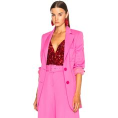 Oscar de la Renta Oversized Blazer ($2,180) ❤ liked on Polyvore featuring outerwear, jackets, blazers, pink blazer jacket, oversized jackets, blazer jacket, pink blazer and oscar de la renta blazer