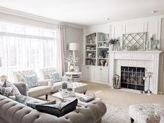 Pops of soft blue Living Room