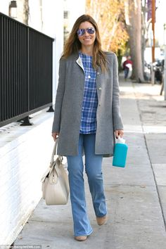Jessica Biel - chilly grey & blue