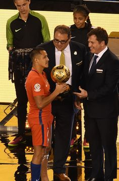#COPA2016 #COPA100 Chile's Alexis Sanchez receives the Golden Ball Award for Best Player of the Copa America Centenario final in East Rutherford New Jersey United...