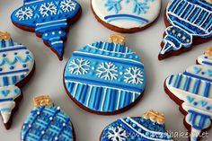 """Decorated cookies- I'm going to try this with terracotta clay """"cookies"""" as ornaments for class parents."""