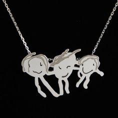 Personalized jewelry, custom made kid's drawing silver necklaces, children's drawings, kids, personalized gift, gift for her, christmas gift