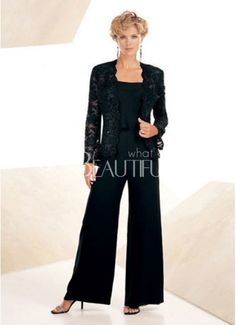 Classic Chiffon Square Lace Mother Of The Bride Pants Suit
