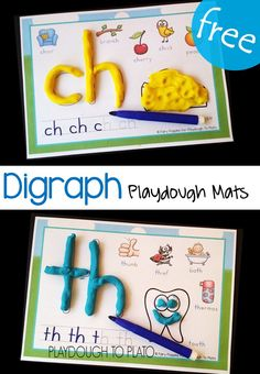 Digraph Playdough Mats – Playdough To Plato Free digraph playdough mats! Fun literacy center or digraph activity for kindergarten and first grade. Kindergarten Centers, Kindergarten Reading, Teaching Reading, Kindergarten Phonics, Reading Fluency, Teaching Aids, Guided Reading, Sue Lloyd, Word Work Stations