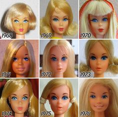 The Barbie doll was released in looking at the Barbie's that have been released since, it's quite clear that they have evolved a lot since. Here's what they look like throughout the years! Enjoy :) And let us know which Barbie was your favourite! Barbie 80s, Barbie Et Ken, Vintage Barbie Dolls, Barbie World, Barbies Dolls, Dolls Dolls, Barbie Collector, Barbie Friends, Doll Face