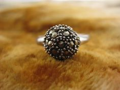 Ring - Size 8 - Sterling Silver - Vintage Marcasite Ring - Cocktail Ring - Women Silver Ring - Sparkle Silver Ring - Signed CM