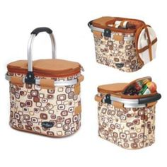 The Picnic Parlor - Tan Rounded Picnic Cooler Basket for 2, $89.99 (http://picnicparlor.com/tan-aluminum-framed-picnic-cooler-basket-for-two/)