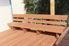 Redwood bench with back built in los gatos 95030