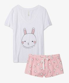 I think that the dress code for girls night should be PJs/comfy clothes. Bonus points if your PJs have bunnies on them! Fashion In, Kawaii Fashion, Cute Fashion, Fashion Women, Cute Pjs, Cute Pajamas, Pyjamas, Ddlg Outfits, Space Outfit