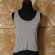 Top  Donating Make Offers Gray and black  striped  hi low top New York & Company Tops Tank Tops