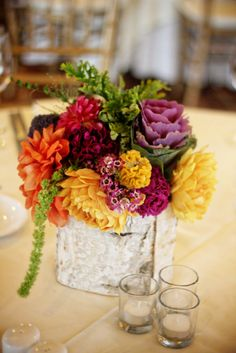 Unique and colorful floral arrangement by floret cadet I like this size for tables Purple Wedding Arrangements, Vintage Wedding Centerpieces, Fall Arrangements, Floral Centerpieces, Vintage Weddings, Wedding Vintage, Centerpiece Ideas, Table Centerpieces, Wedding Decor