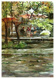 "Watercolor artist Kazuo Kasai (Japanese: 1955) | ""Park Side Cafe""#painting #Art pls visit us > www.facebook.com/skalapeter7 ♡"