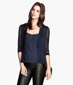 Dark blue fine-knit cardigan by H&M