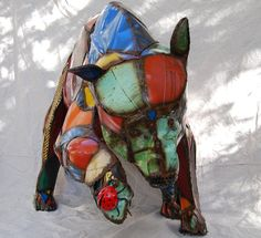 Life-Size Custom Made Metal Bear Sculpture Made Out of Found Objects By Jacob Novinger