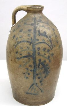 STONEWARE JUG with unusual tree design. - Item sold but I believe it is a very early willow image.